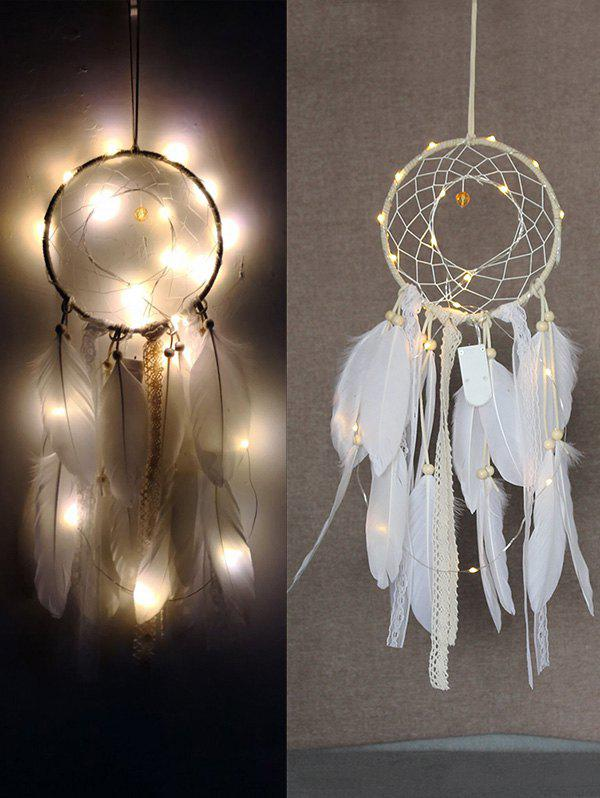 Fancy Feathers Handmade Dream Catcher with String Light