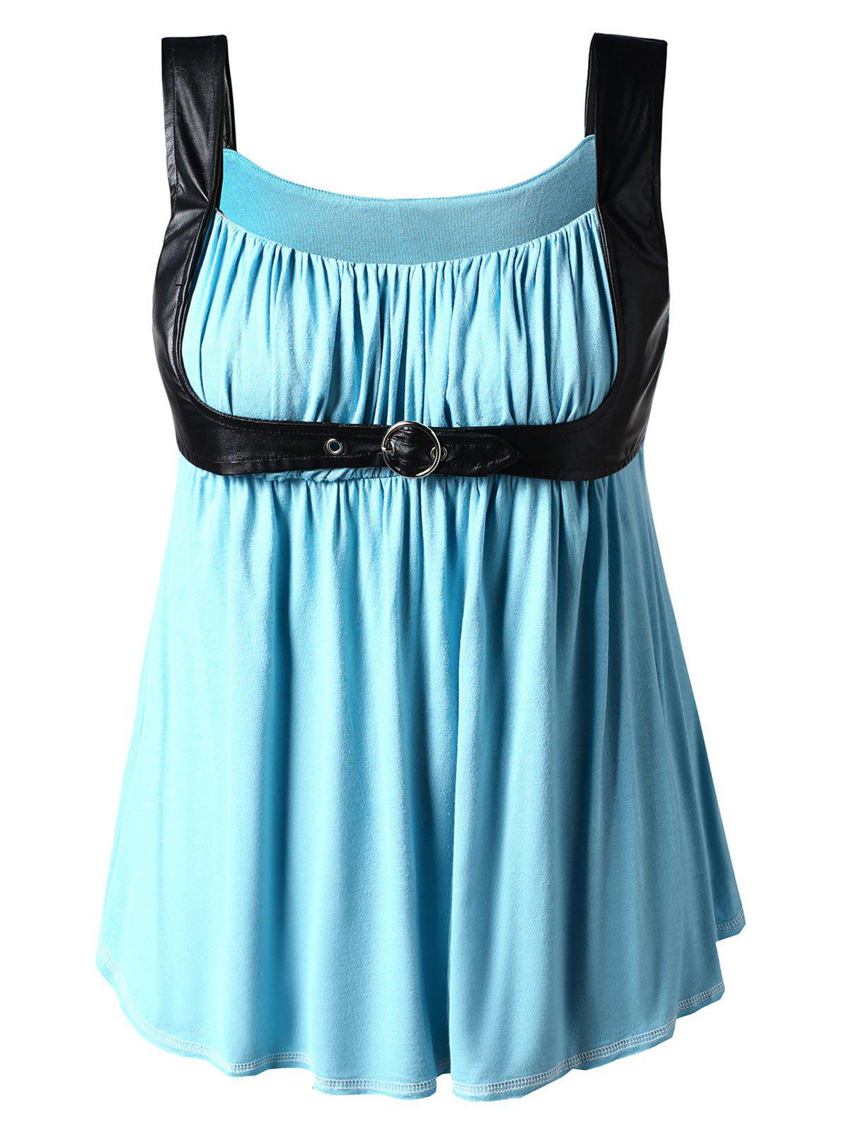 Outfit Plus Size PU Leather Trim Gothic Tank Top