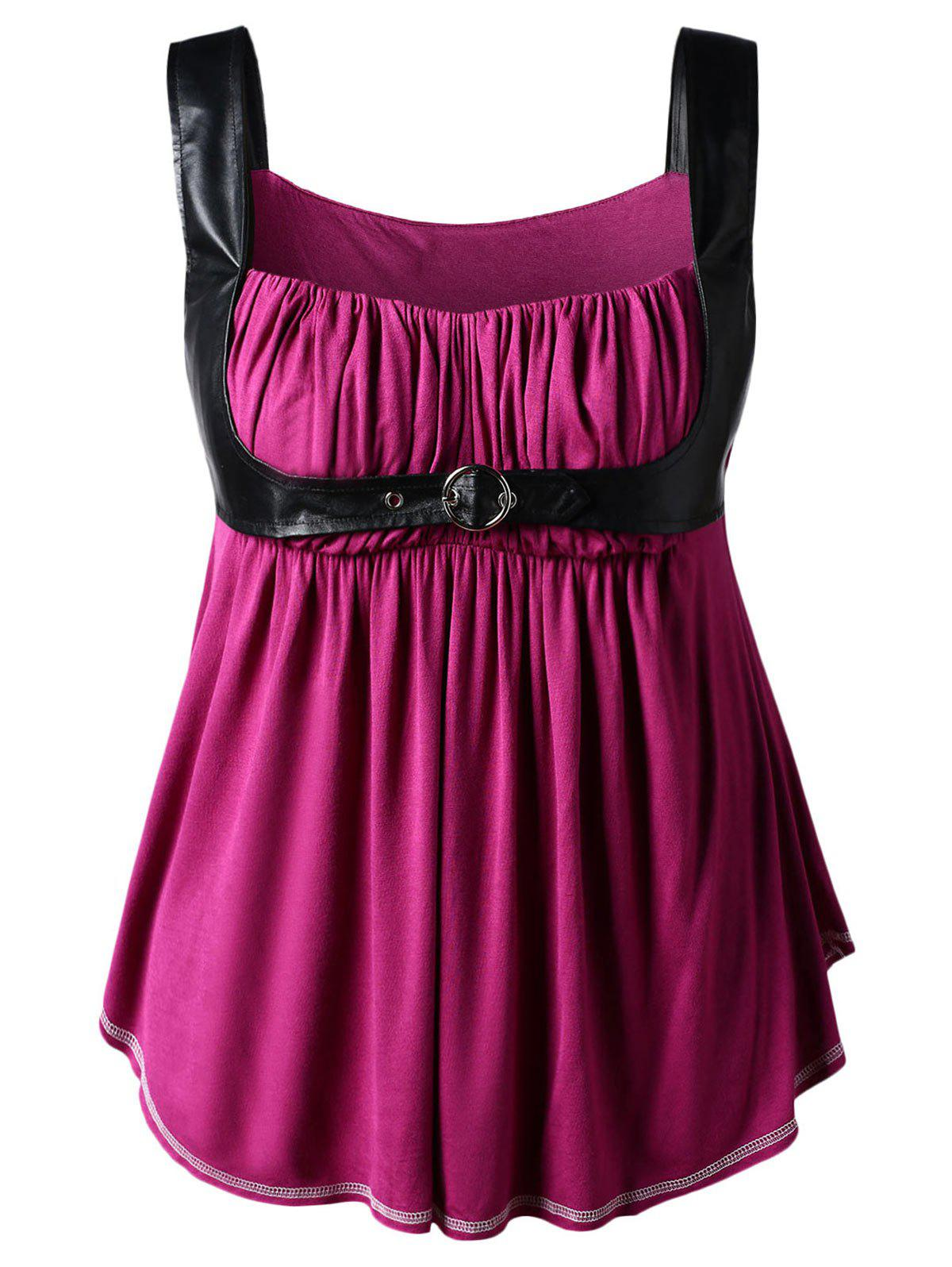 Shops Plus Size PU Leather Trim Gothic Tank Top