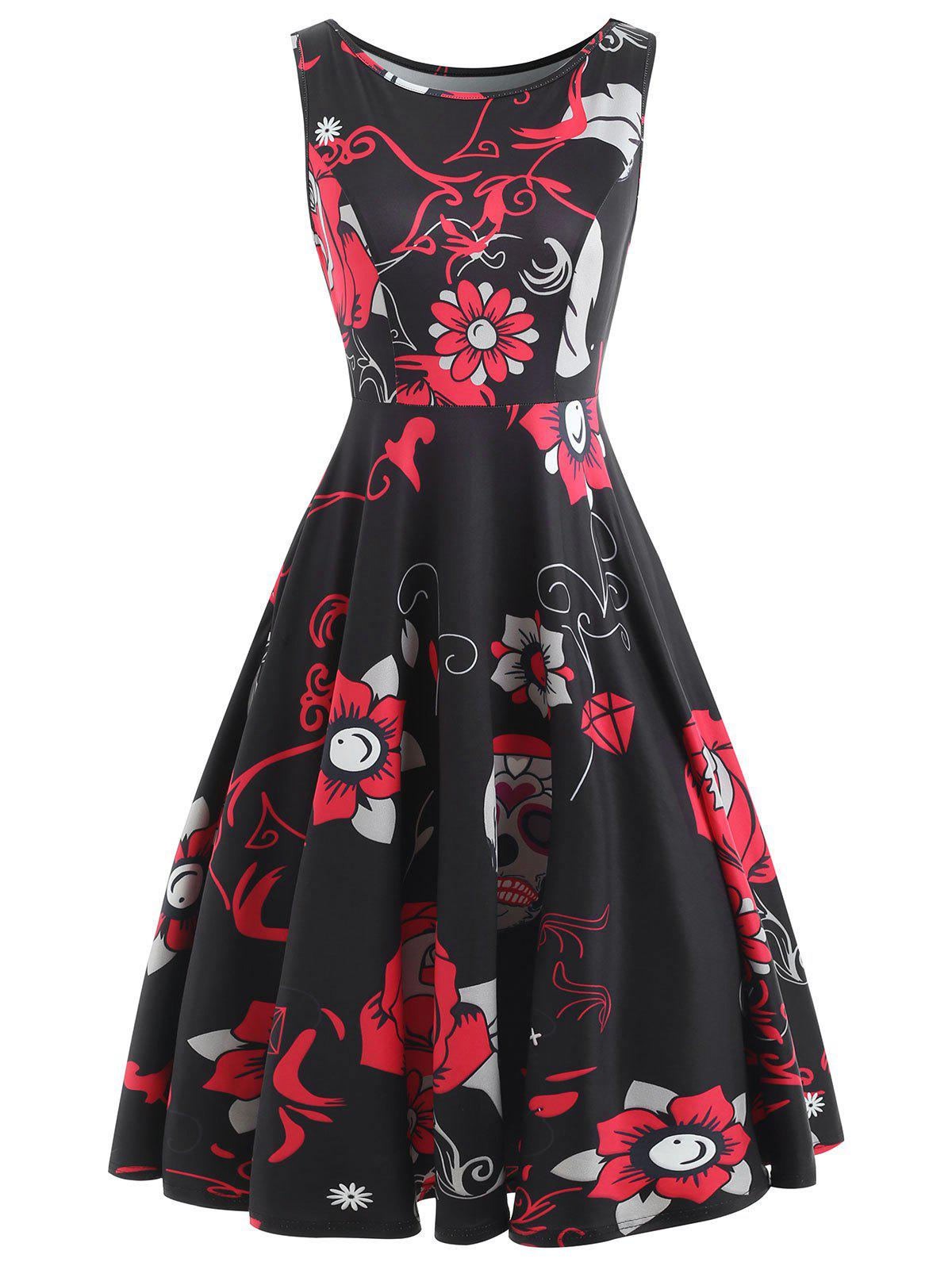 Cheap Sugar Skull Print Sleeveless Vintage Dress