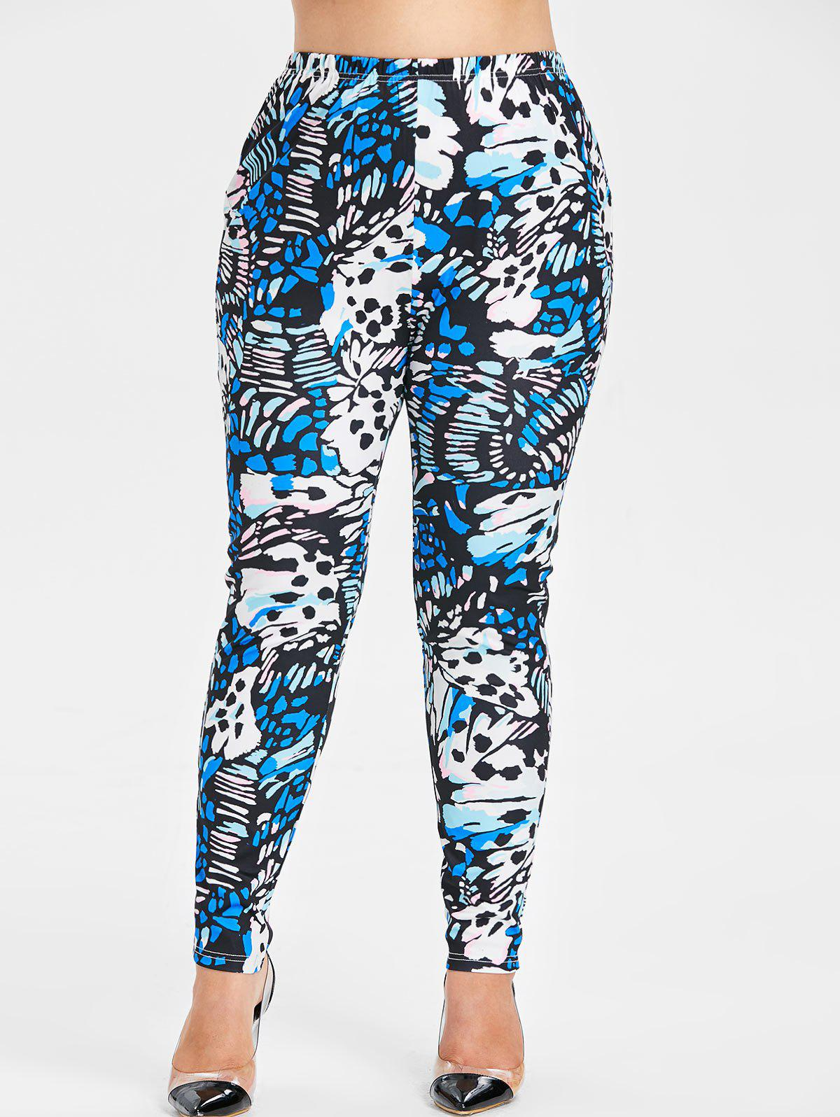 Sale Plus Size Abstract Print Leggings