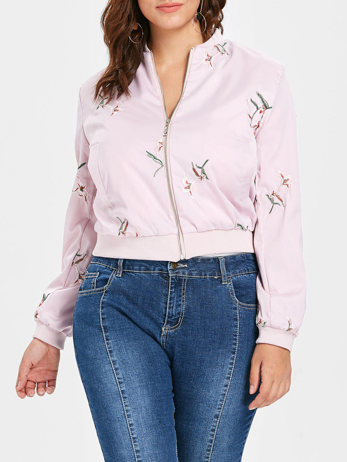 Shop Plus Size Embroidered Bomber Jacket