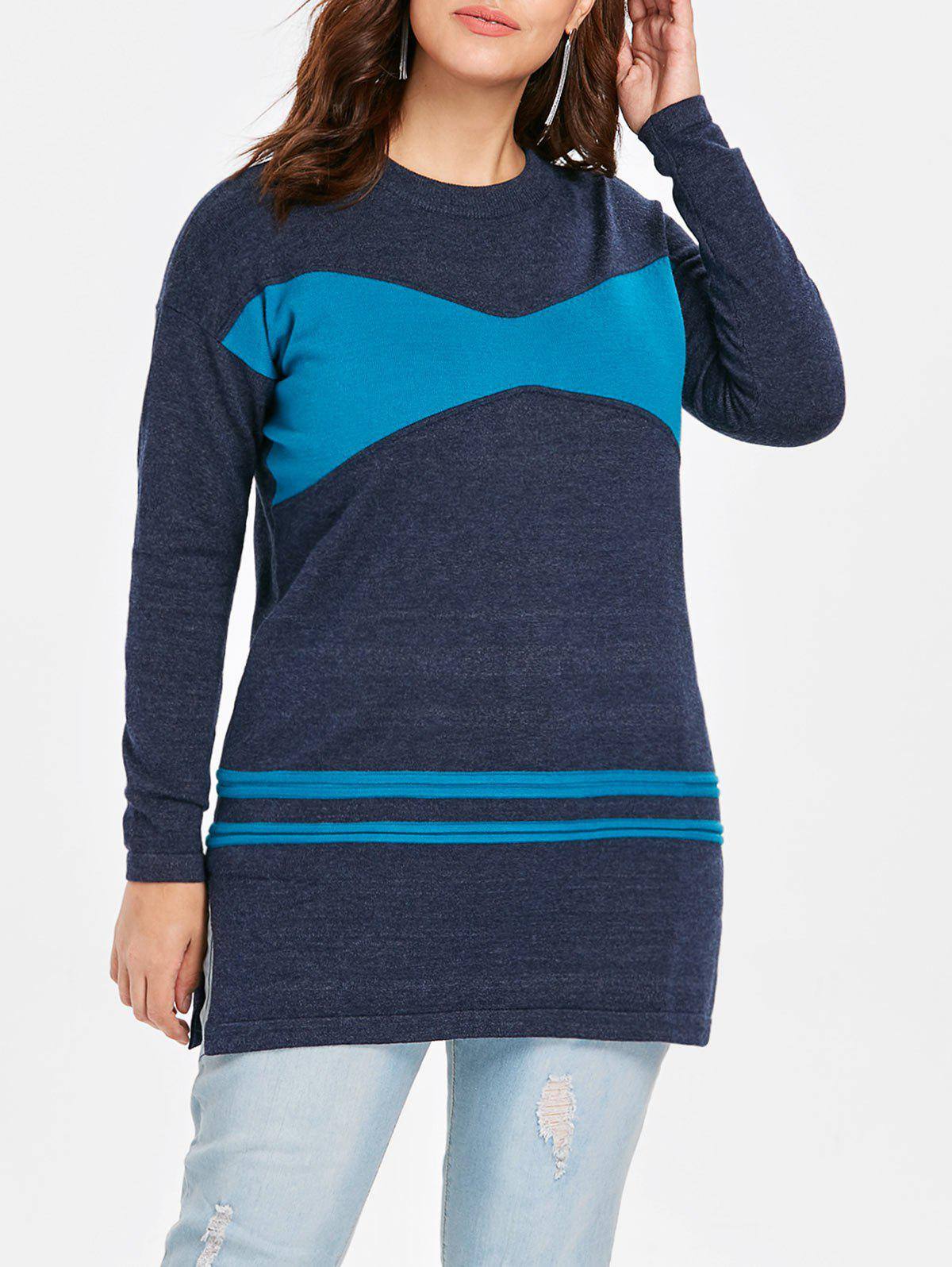 Best Plus Size Patchwork Tunic Sweater