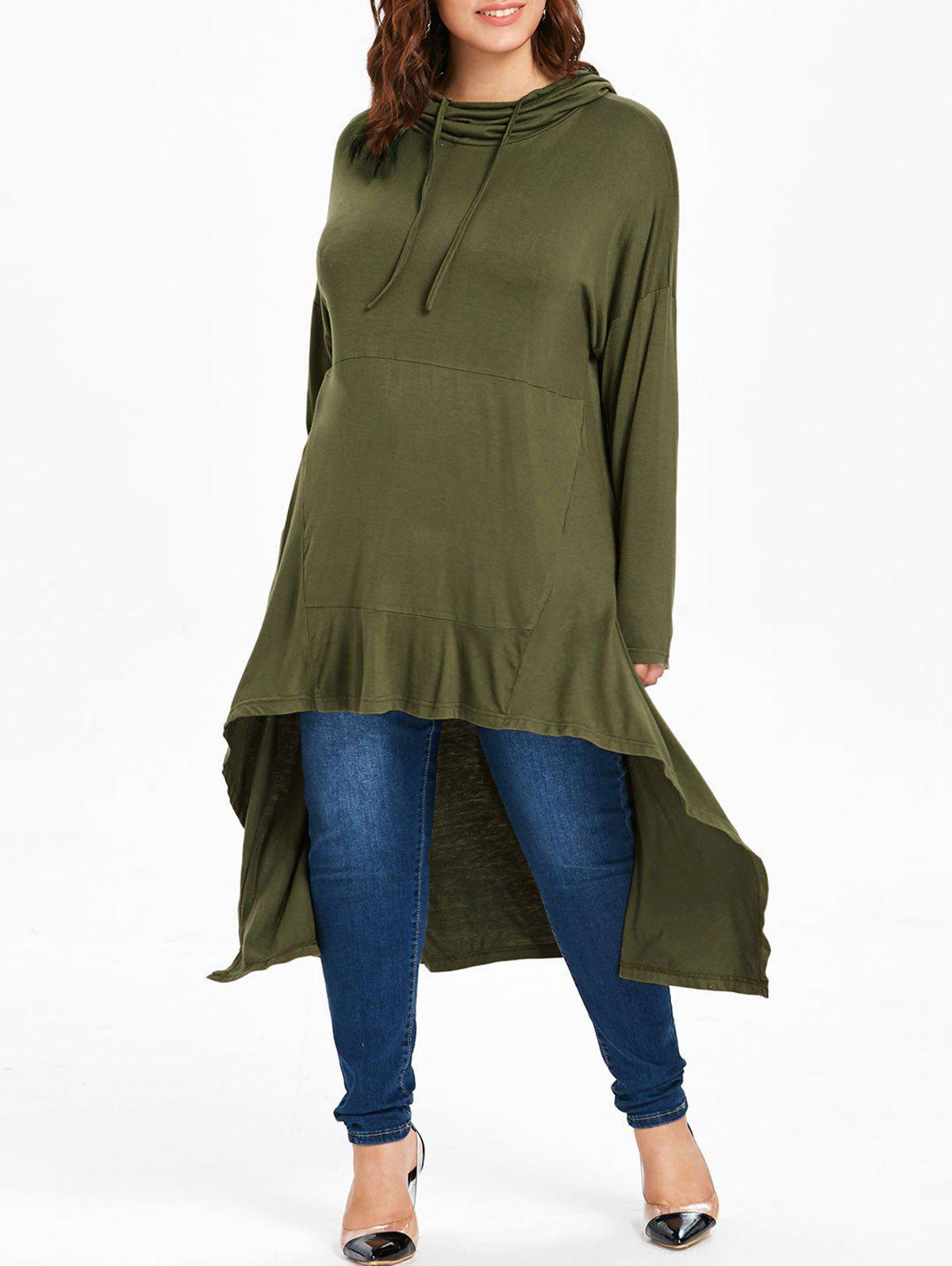 Plus Size High Low Maxi Hoodie, Army green