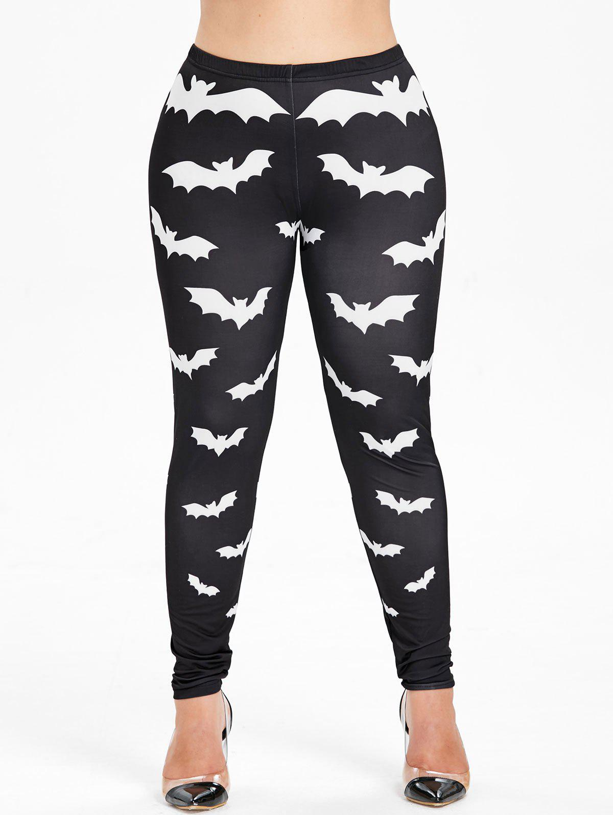 Affordable Plus Size Bat Pattern Halloween Leggings