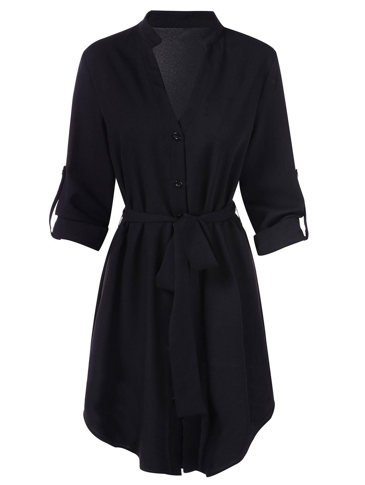 Best Long Sleeve V Cut Belted Dress