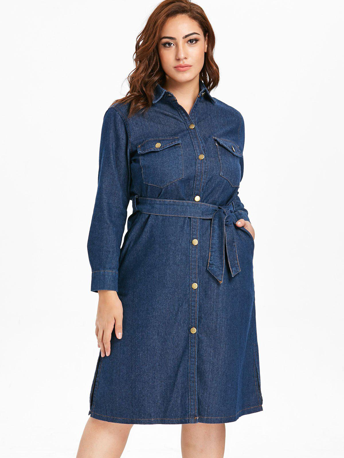 Denim Plus Size Shirt Dress
