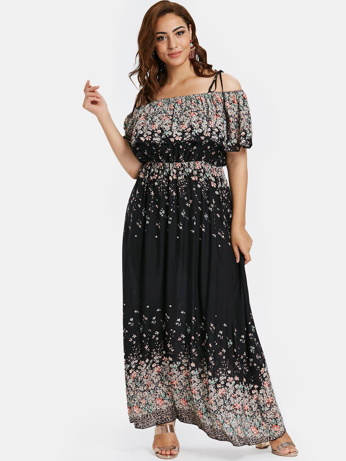 Outfit Plus Size Floral Maxi Overlay Dress