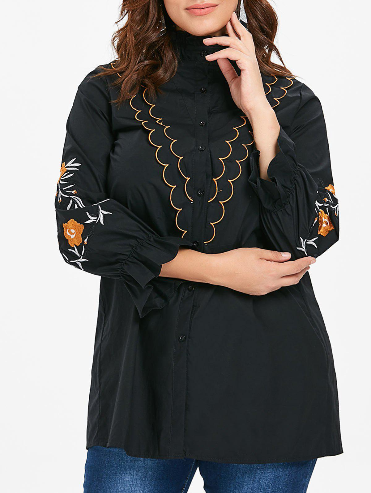 Sale Ruffle Neck Plus Size Embroidery Sleeve Shirt