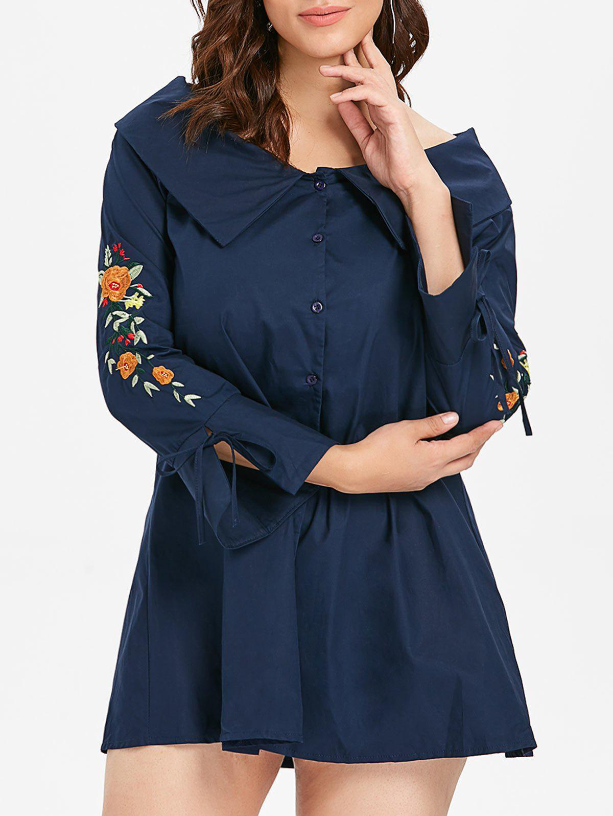 Discount Floral Embroidery Flare Sleeve Plus Size Shirt Dress