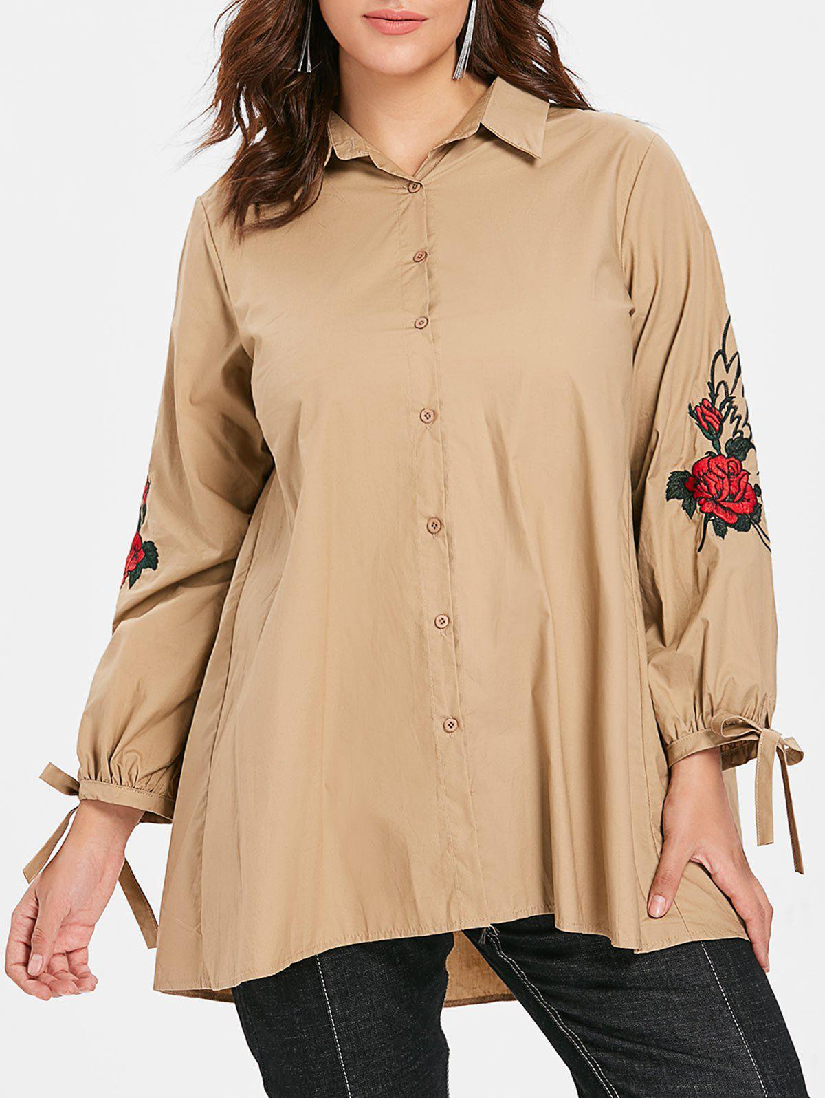 Buy Floral Embroidery Plus Size Tied Sleeve Shirt