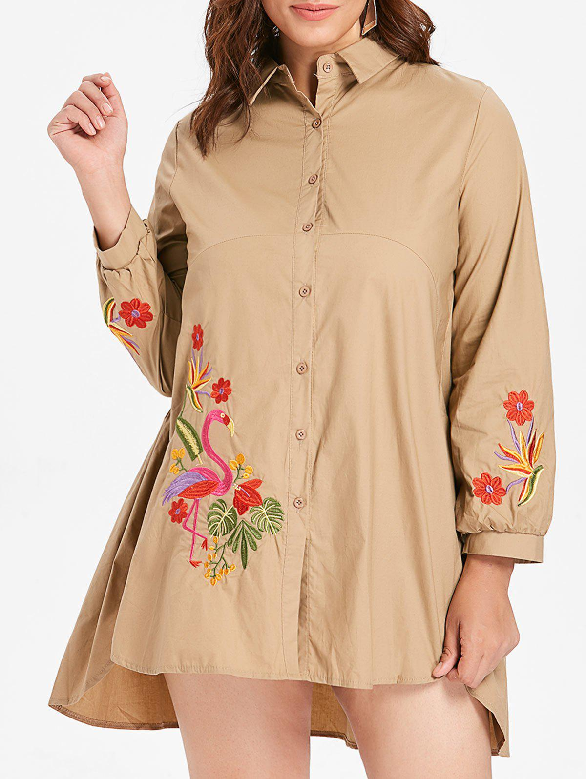 Outfits Plus Size Flamingo Embroidery Shirt Dress