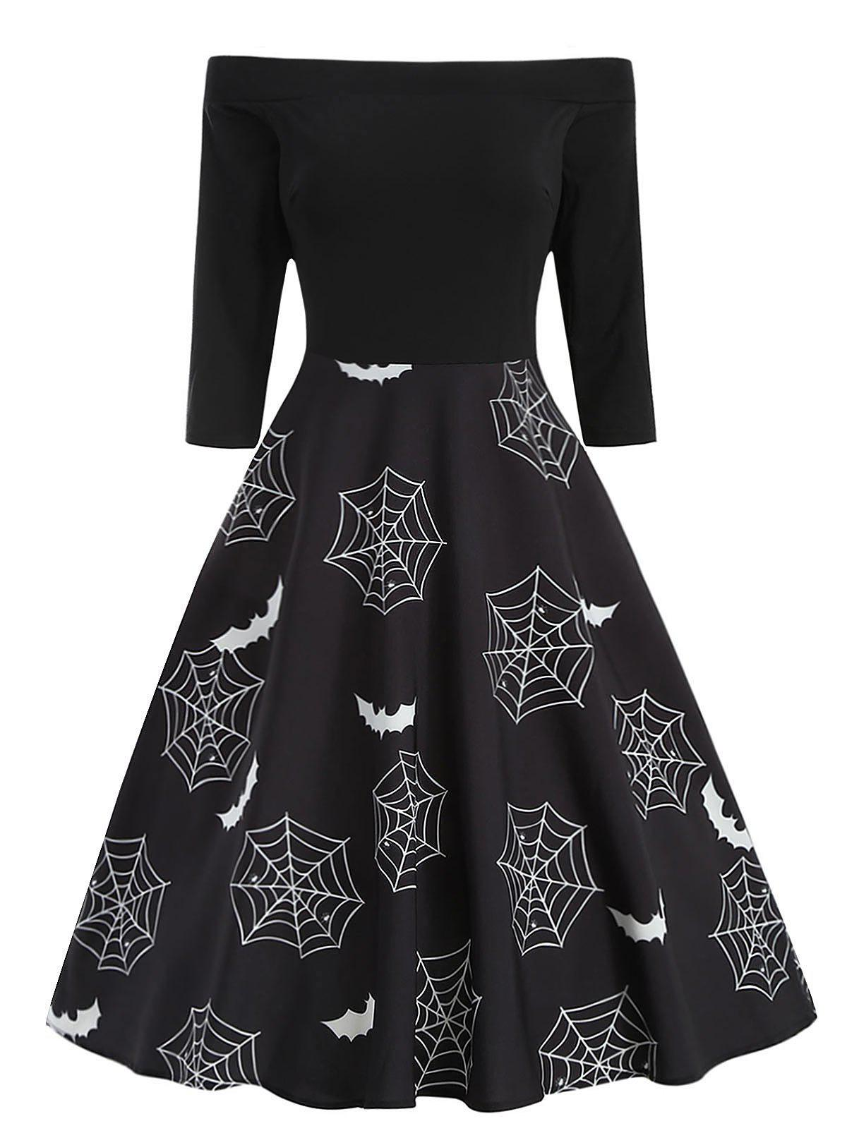 Outfit Halloween Bat Print Off The Shoulder Dress