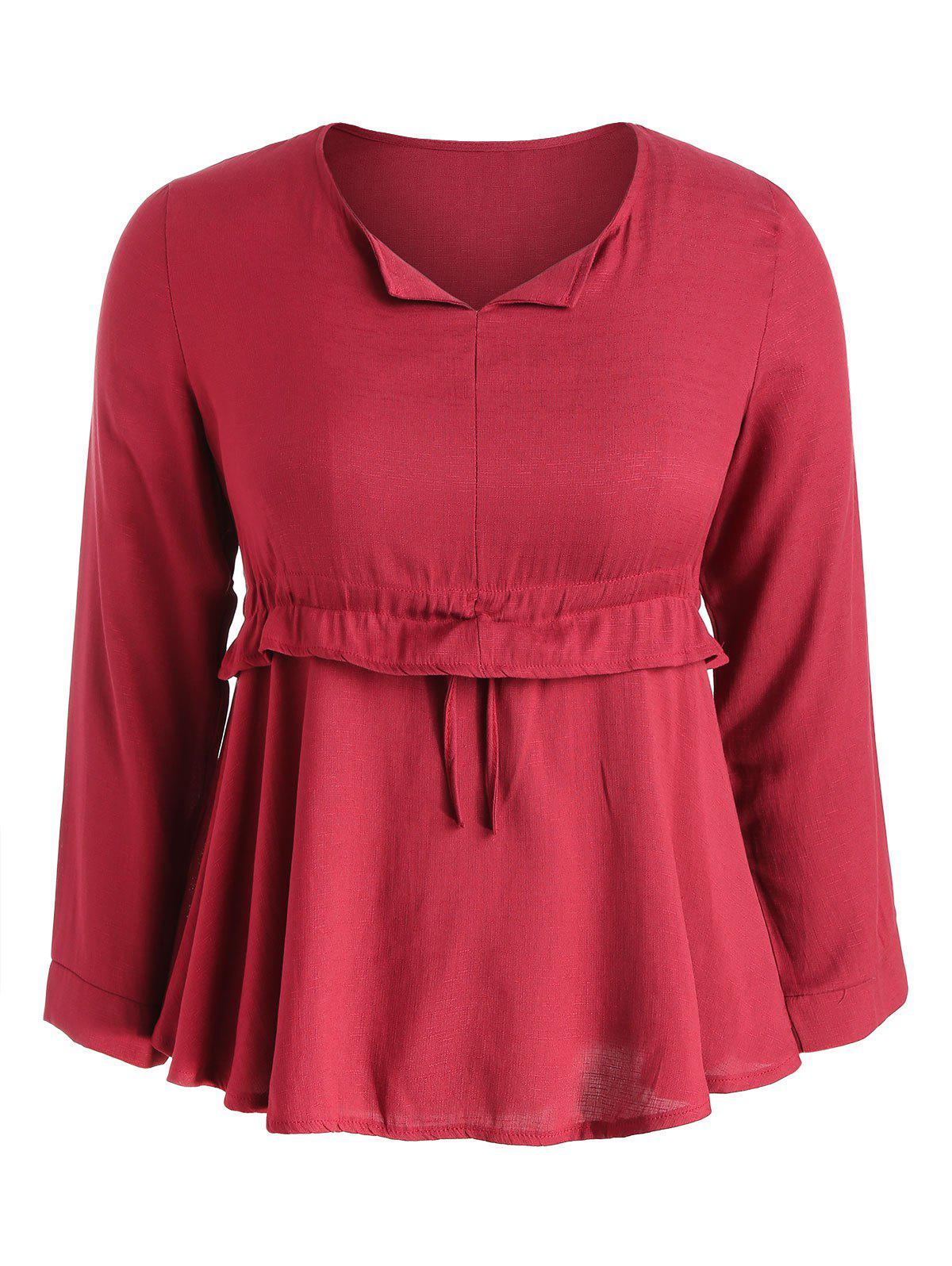 New Long Sleeve Plus Size Drawstring Waist Blouse