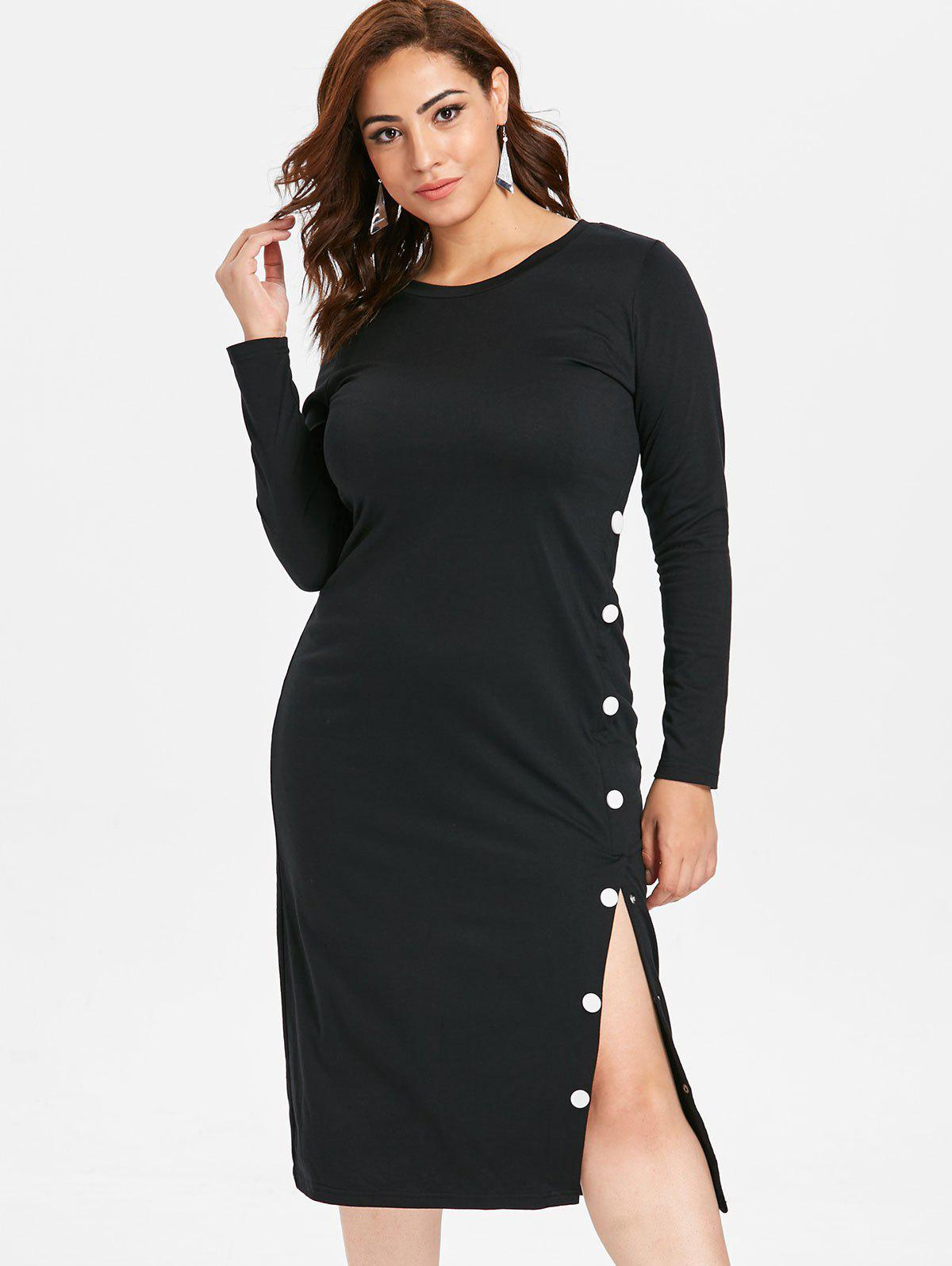 Cheap Plus Size Buttoned Slit Tee Dress