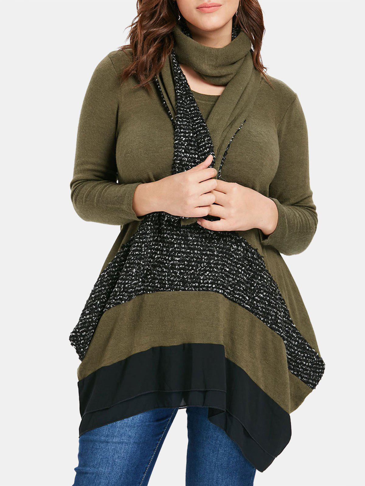 Fashion Color Block Plus Size Asymmetrical Sweater with Scarf