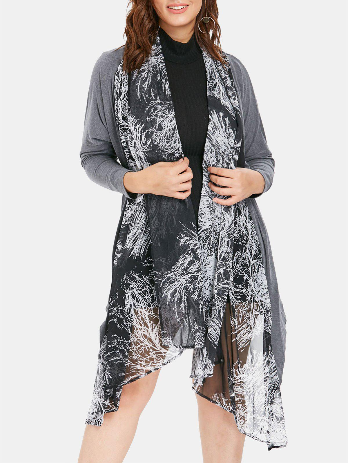 Latest Sheer Plus Size Printed Asymmetrical Coat