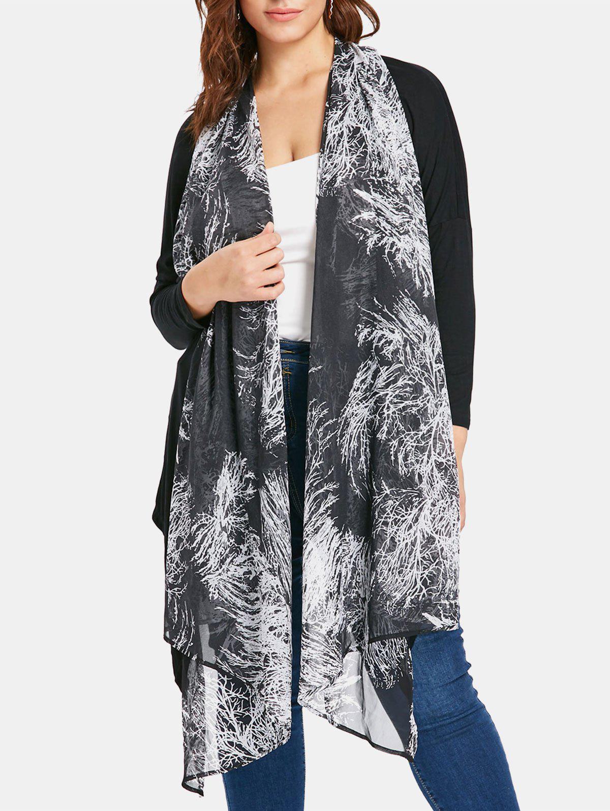 New Sheer Plus Size Printed Asymmetrical Coat
