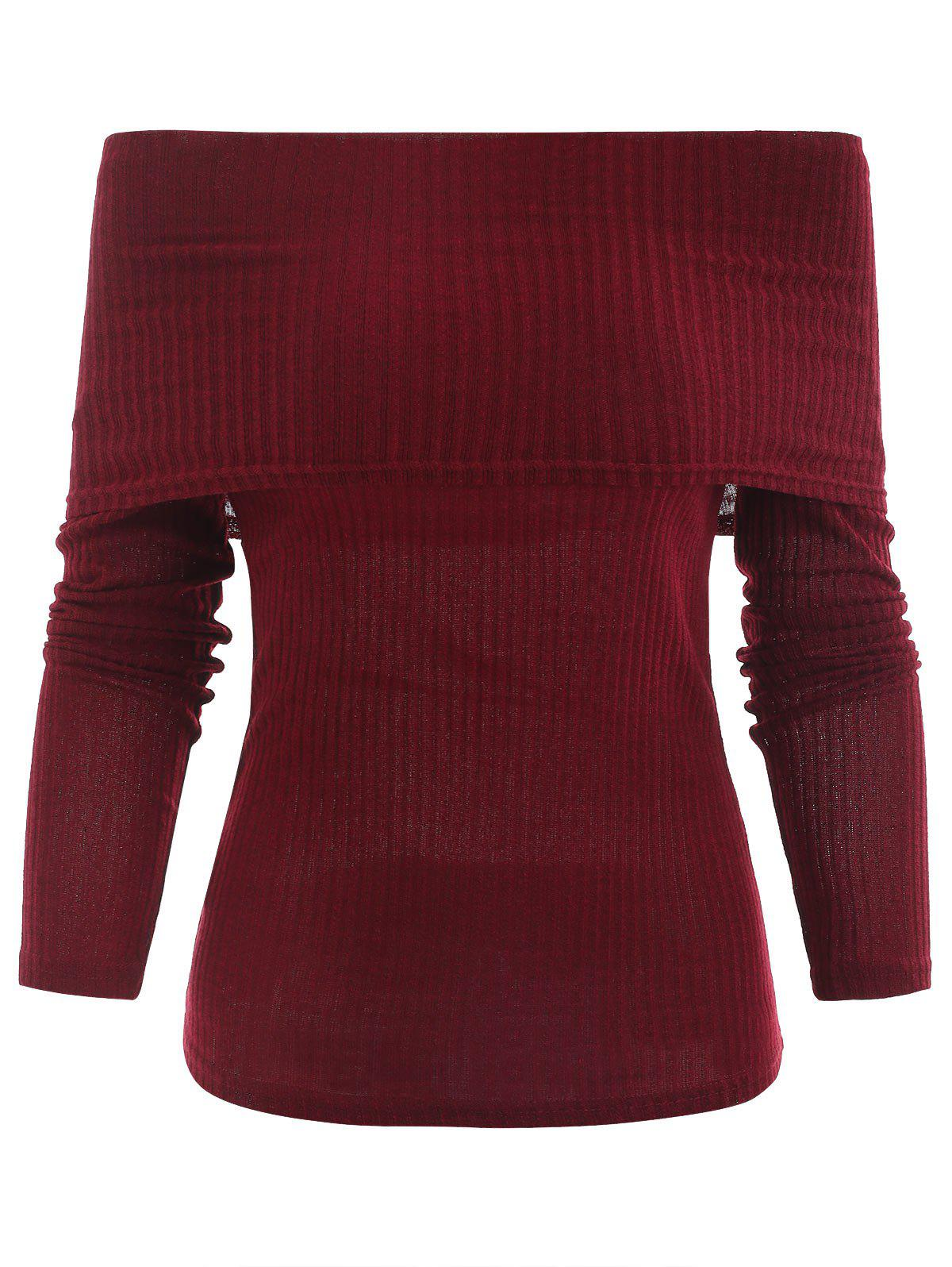 Affordable Off The Shoulder Ribbed Knitwear
