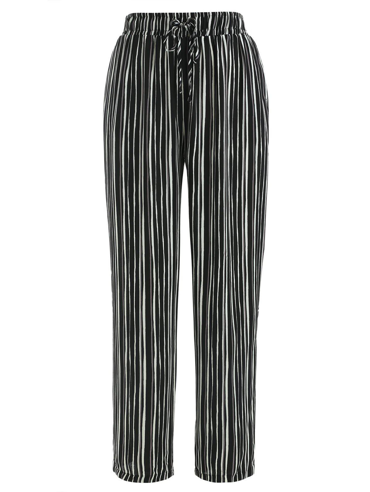 Hot Drawstring Striped Print Pants