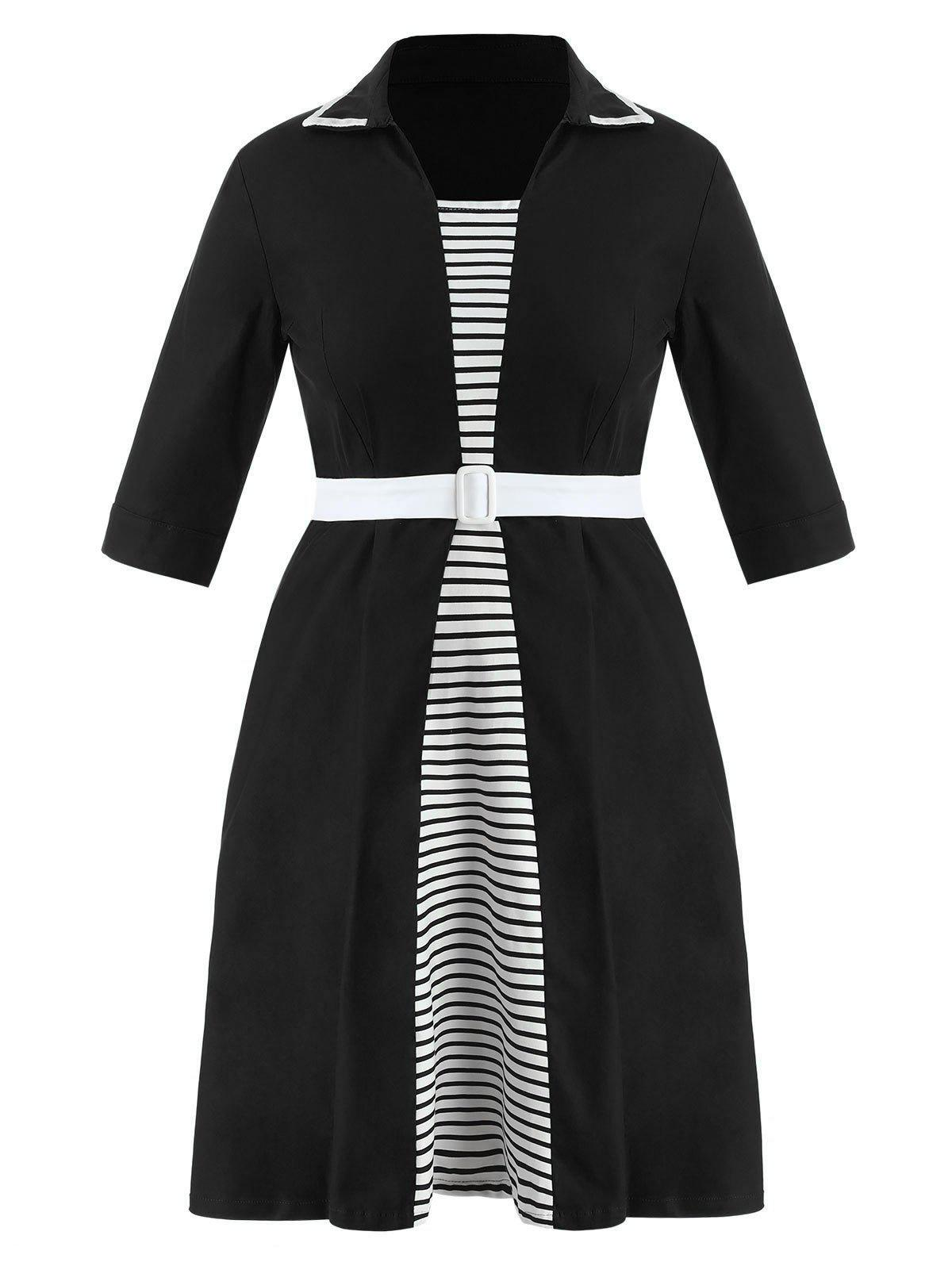 Shop Plus Size Striped Flared Dress with Belt