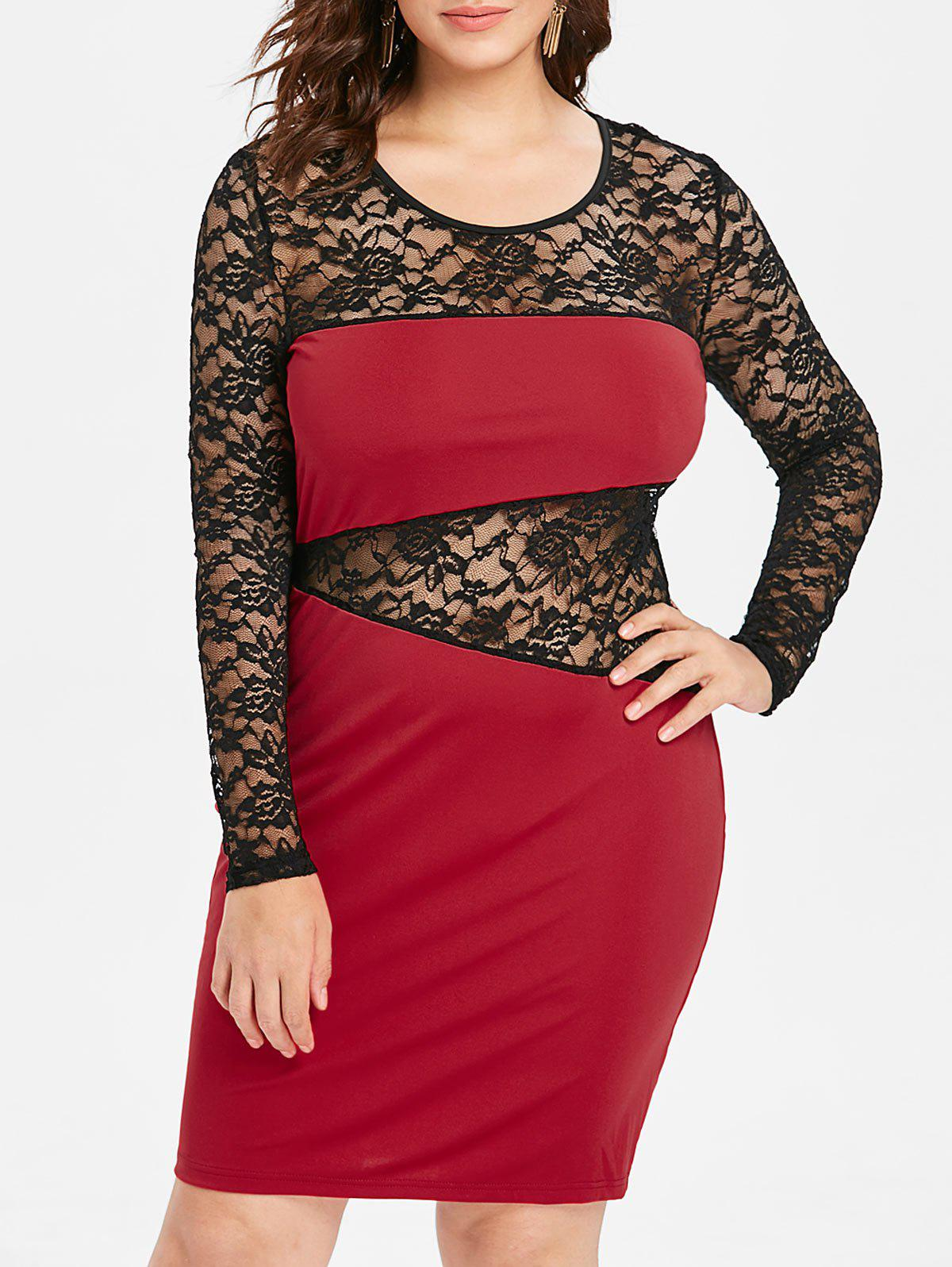 Buy Plus Size See Through Lace Insert Party Dress