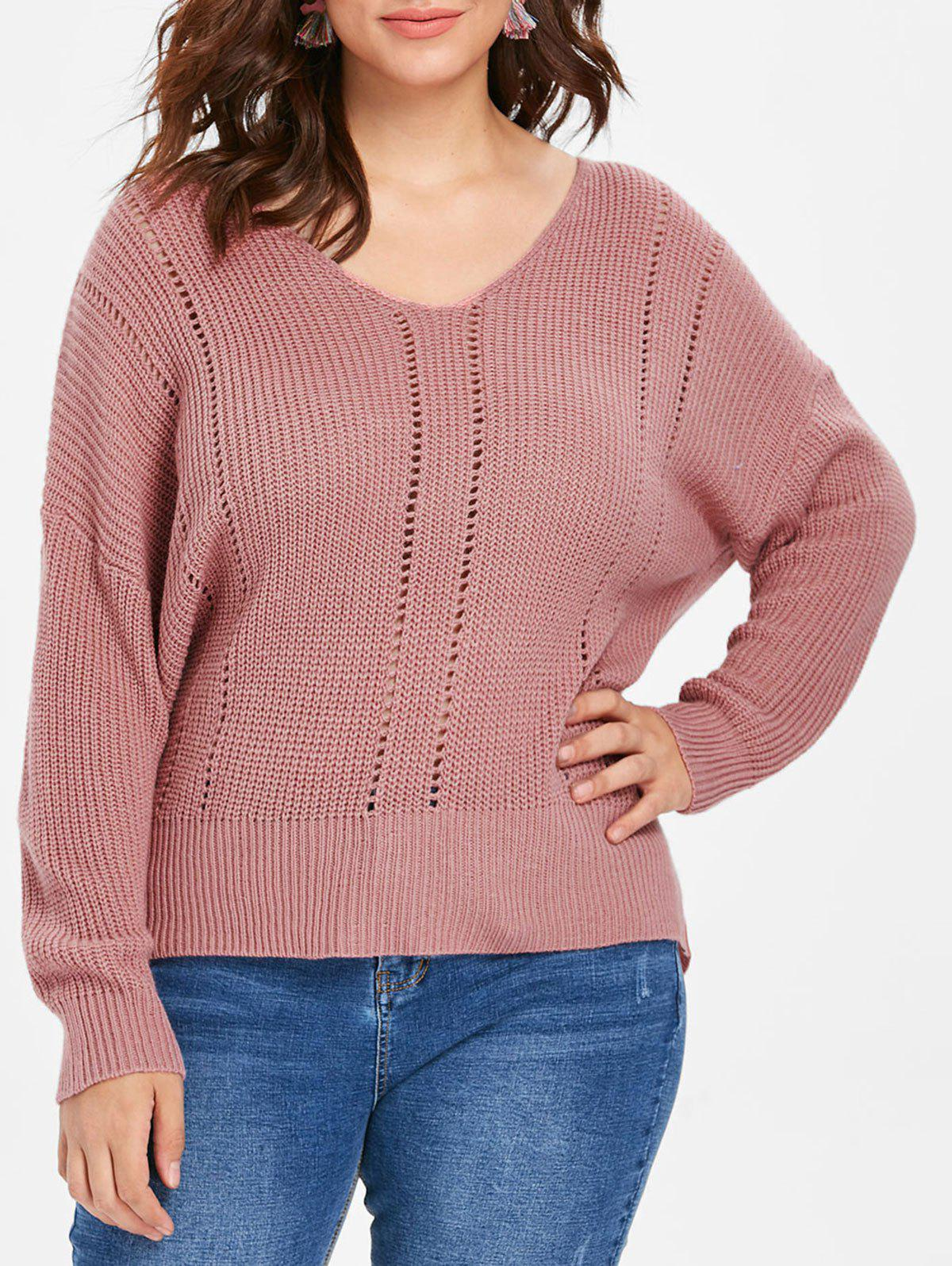 Shop Plus Size Fitted V Neck Sweater