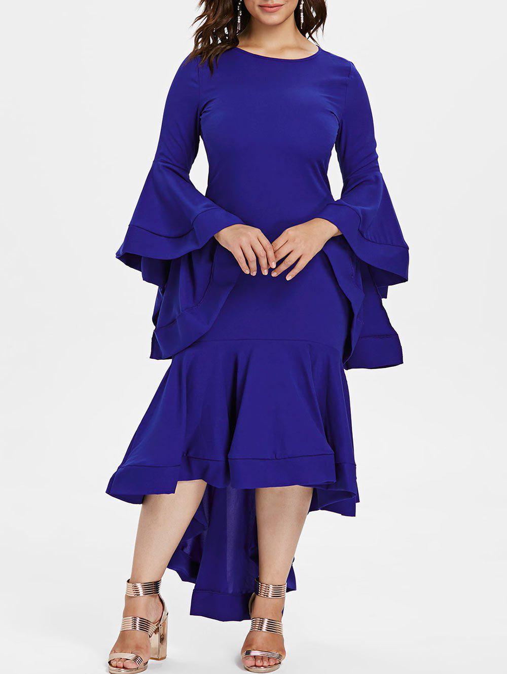 Discount Tiered Bell Sleeve Plus Size Flounce Hem Party Dress