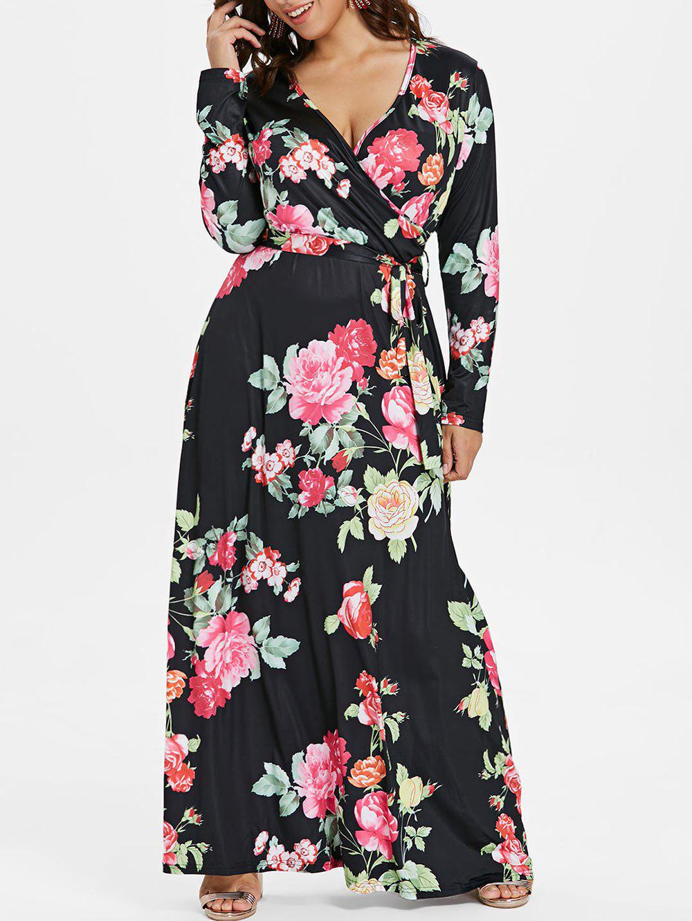 Cheap Surplice Neck Plus Size Floral Maxi Dress