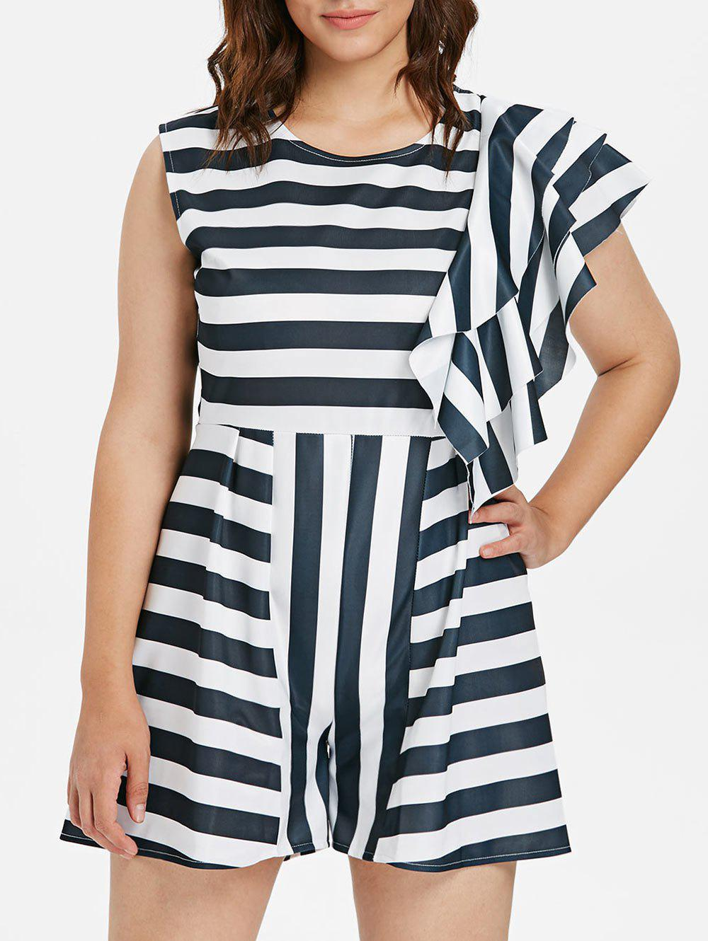 Store Layered Ruffle Detail Plus Size Striped Romper