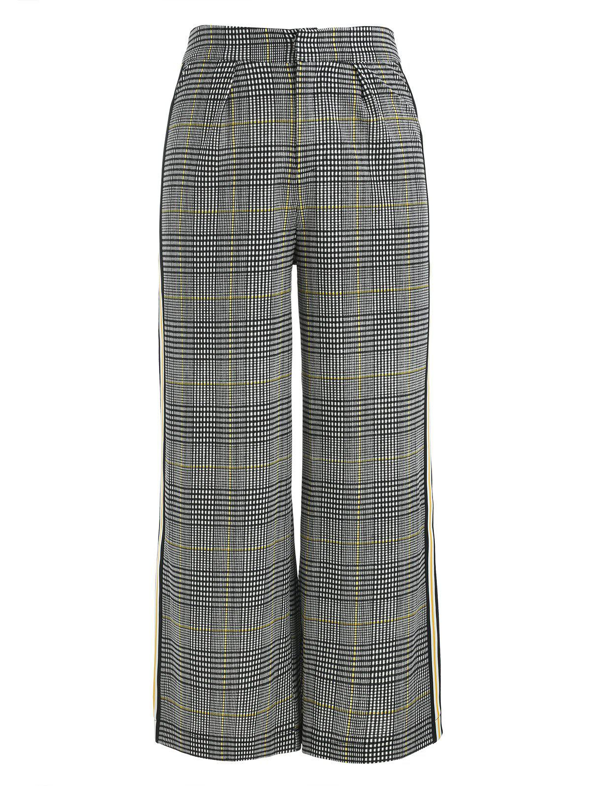 Fashion Plaid Print Wide Leg Pants