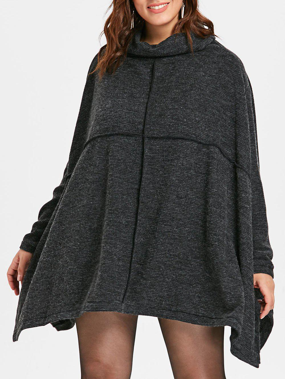 Outfit Cowl Neck Plus Size Asymmetrical Sweater Dress