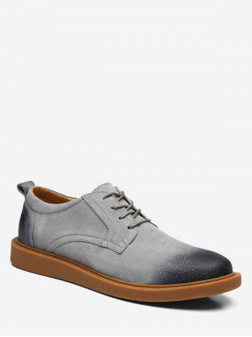 Low Top Lace Up Flat Sneakers - GRAY - EU 40