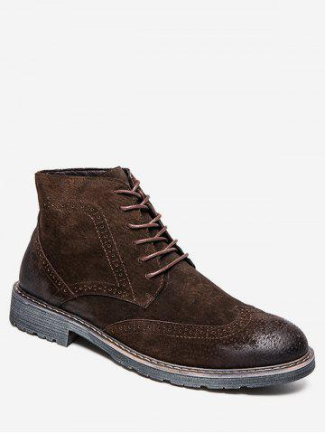 Retro Lace Up Suede Wing Tip Boots