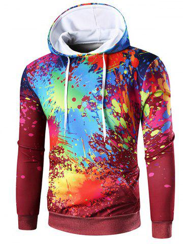 Drawstring Colorful Paint Splatter Hoodie