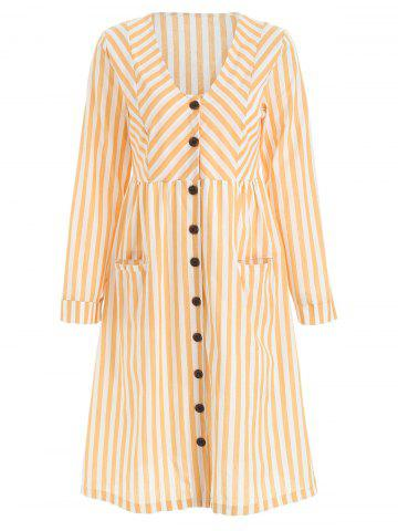 Full Sleeve Button Up Stripe Dress