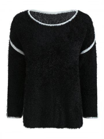 Drop Shoulder Fuzzy Pullover Sweater