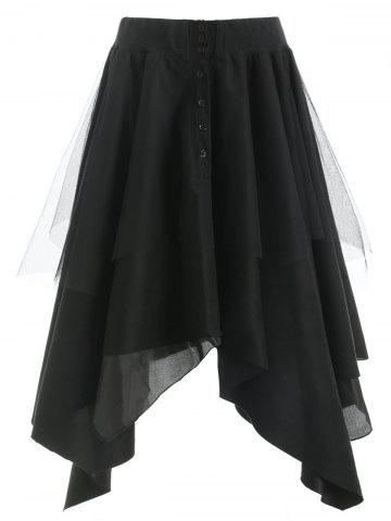 Half Button Mesh Panel Long Asymmetrical Skirt