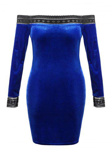 Plus Size Velvet Off Shoulder Bodycon Party Dress