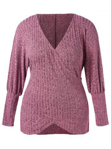 Puff Sleeve Plus Size Plunge Sweater