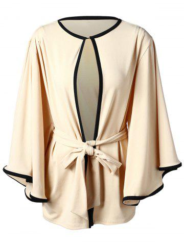 Color Trim Bell Sleeve Open Front Cardigan