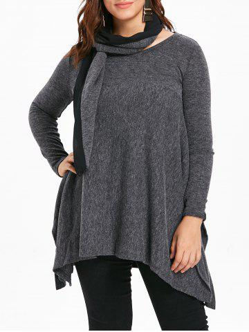 Round Neck Plus Size Asymmetrical Sweater with Scarf - GRAY - L