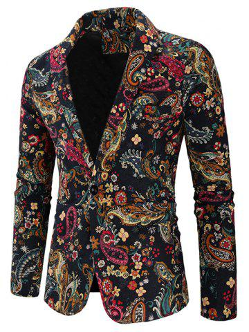 Paisley Print One Button Shawl Collar Blazer