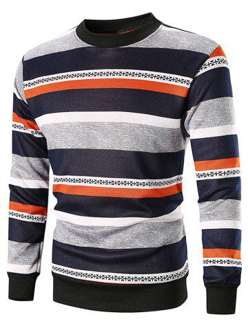 Wide Striped Crew Neck Sweatshirt
