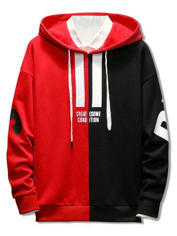 Contrast Color Letter Drawstring Hoodie