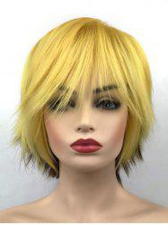 Short Inclined Bang Two Tone Straight Party Synthetic Wig -