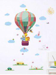 Lovely Animal Fire Balloon Print Removable Wall Art Stickers -