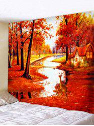Maple Forest Deer Print Wall Tapestry Art Decoration -