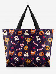 Halloween Skull and Pumpkin Print Handbag -