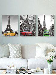 Eiffel Tower Car Print Unframed Split Canvas Paintings -